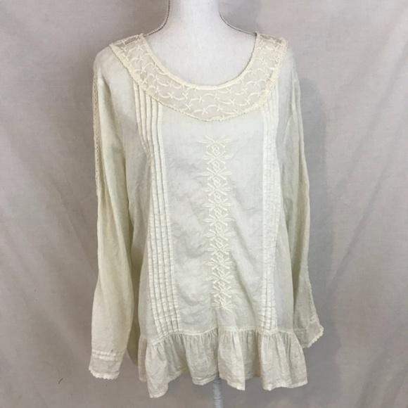 8bdc05e58a0 ❤️Cream Top Blouse w/ Pintucking, Lace, Embroidery